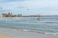 Kitesurfing Playa de Palma Royalty Free Stock Photography