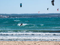 Kitesurfing Playa de Palma Stock Photo