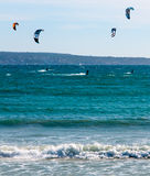 Kitesurfing Playa DE Palma verticaal Stock Foto's