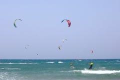 Kitesurfing in Prassonisi, Aegean sea, Rhodes Island. Kitesurfers in Prassonisi, Rhodes Island, Greece stock photos