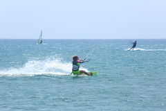 Kitesurfing in Prassonisi, Aegean sea, Rhodes Island Stock Images
