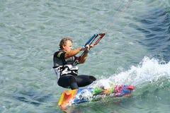 Kitesurfing in Prassonisi cape in Rhodes island Royalty Free Stock Photo