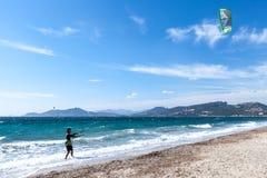 Kitesurfing on the Presqu'ile de Giens Hyeres Beach Royalty Free Stock Images