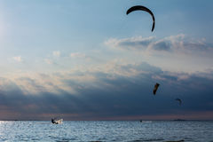 Kitesurfing Sandy Hook Royalty-vrije Stock Afbeeldingen