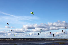Kitesurfing on sea Stock Photography
