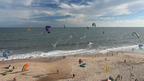 Kitesurfing sports for active people stock footage
