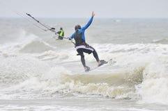 Kitesurfing in spray. Stock Photos