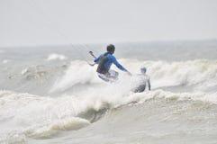 Kitesurfing in spray. Stock Photography