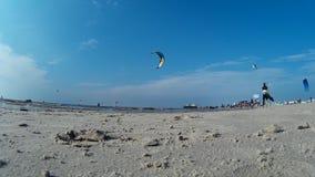 Kitesurfing in St. Peter-Ording stock video footage