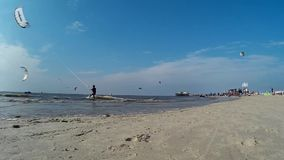 Kitesurfing in St. Peter-Ording stock footage