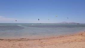 Kitesurfing sul mare stock footage