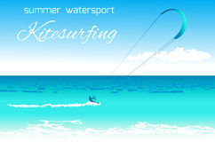 Kitesurfing summer watersport concept Royalty Free Stock Photos