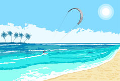 Kitesurfing summer watersport seaside Royalty Free Stock Photos