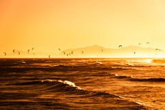 Kitesurfing on Sunset Stock Photos