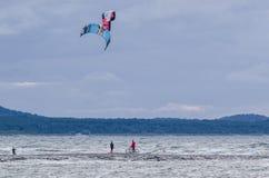 KITESURFING. SWINOUJSCIE, WEST POMERANIAN / POLAND: Kitesurfing - lovers of water sports on the sea waves Royalty Free Stock Images