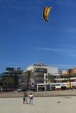 Kitesurfing training. Learning to kitesurfing on a sunny day in the Playa de Palma. Mallorca, Spain Royalty Free Stock Photos