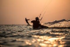 Kitesurfing. Various kitesurfing high arenaline action photos Royalty Free Stock Photo