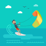 Kitesurfing Vector Concept in Flat Design. Kitesurfing vector concept. Joyful man holding kite and sliding on sea surface on surf flat vector. Leisure on summer Stock Photography