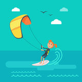 Kitesurfing Vector Concept in Flat Design Royalty Free Stock Image