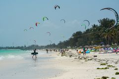 Kitesurfing is very popular at Zanzibar. Tanzania royalty free stock photo