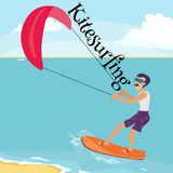 Kitesurfing water extreme sports,  design element for summer vacation activity concept, cartoon wave surfing. Sea beach vector illustration, active lifestyle Royalty Free Stock Photography