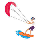 Kitesurfing water extreme sports. Isolated design element for summer vacation activity concept, cartoon wave surfing, sea beach vector illustration, active Stock Photo