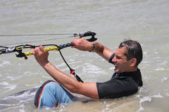 Kitesurfing. Water-start. Stock Photo