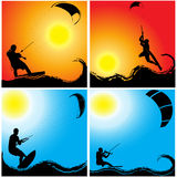 Kitesurfing on waves Royalty Free Stock Photos