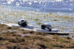 Kitesurfing or windsurfing Stock Image