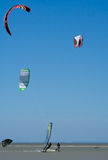 Kitesurfing and windsurfing. In the Taganrog Bay of the Azov Sea royalty free stock images