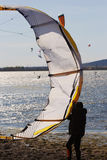 Kitesurfing or windsurfing Royalty Free Stock Image