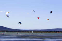 Kitesurfing or windsurfing Royalty Free Stock Photos