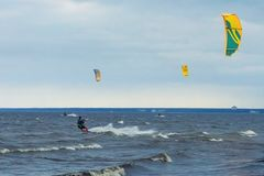 Kitesurfing on a windy day royalty free stock photo