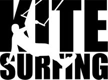 Kitesurfing word with silhouette. Vector Royalty Free Stock Photo