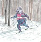 kiting的河滑雪多雪的体育运动冬天 速度滑雪 免版税库存照片