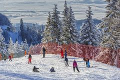 kiting的河滑雪多雪的体育运动冬天 免版税库存图片