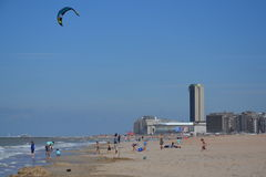 Kiting on a beach in Oostende, Belgium Royalty Free Stock Image