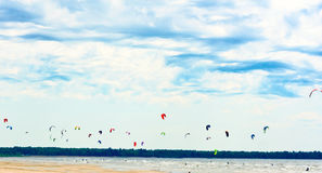 Kiting championship dozens of kites Royalty Free Stock Photography