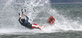 Kiting em Costa-Rica, wipeout. Fotos de Stock