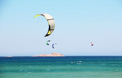 Kiting. Or kite surfing is a popular water sports Stock Photography
