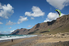 Kiting in Lanzarote Stock Image