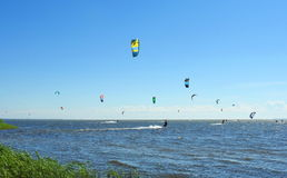 Kiting people in Curonian spit, Lithuania Stock Images