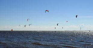 Kiting people in Curonian spit, Lithuania Royalty Free Stock Photo