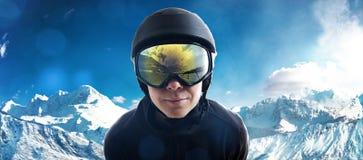 kiting rzeczna narciarska śnieżna sport zima zdjęcie royalty free