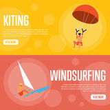 Kiting and Windsurfing Horizontal banners Royalty Free Stock Photography