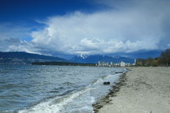 Kitslano beach. The view of Vancouver downtown and North shore mountains from Kitslano beach in Vancouver Stock Photos