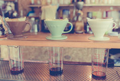 Kits for making fresh coffee drip in vintage tone Royalty Free Stock Photography