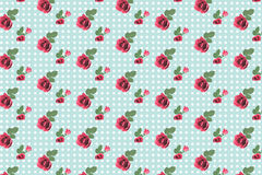 Kitsch floral pattern wallpaper with roses Royalty Free Stock Photo