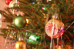 Kitsch 70s style decorated Christmas Tree Royalty Free Stock Images