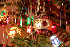 Kitsch 70s style decorated Christmas Tree Royalty Free Stock Photography